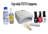 Стартовый набор для покрытия гель лаком Tertio (10 мл)  8 предметов УФ лампа мини на 36 вт.