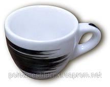 """Чашка 75 мл. фарфоровая, белая с черной полоской """"B"""" espresso Verona Millecolori, Ancap"""