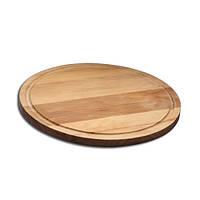 Доска деревянная для подачи с желобом круглая 25х2 см.