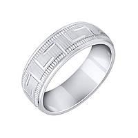 Серебряное обручальное кольцо Гармони с фактурной поверхностью и элементами орнамента 000093715 15 размер