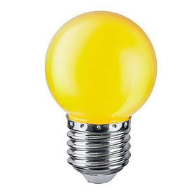 Светодиодная лампа  желтая Feron G45 E27  1W 230V Код.59715