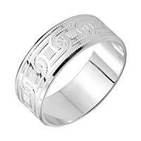 Серебряное обручальноекольцо Валенсия с насечками 000129729 19 размер