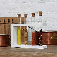 Пробирки на деревянной подставке 4 шт. 18х4х16,5 см. белый