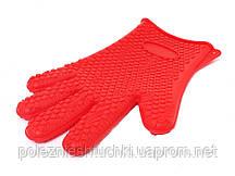 Рукавица пекарская  27х18,5  см. силиконовая красного цвета (7137)