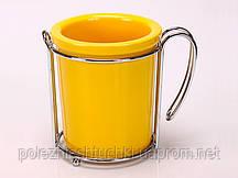Подставка для кухонных принадлежностей 8х9  см. Round,  фарфоровая желтая (398-080)