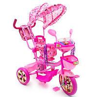 Велосипед розовый трехколесный для девочки с родительской ручкой WS-828R-2 (NP) от 2 лет