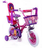 Детский велосипед для девочки фиолетовый с корзинкой и багажником BARBIE 12 БАРБИ от 3 лет родительская ручка