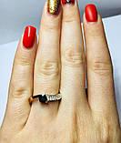 Кільце в сріблі з золотом і чорним фианитом Шеріл, фото 5