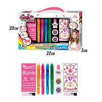 Косметика J-2005 (72шт) набор для тату, ручки,блеск,трафареты, наклейки,в кор-ке, 31-19-3см