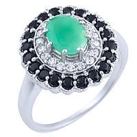 Серебряное кольцо  с натуральным сапфиром, изумрудом , фото 1
