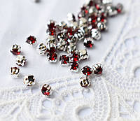 Стразы пришивные 3 мм красные, стекло,10 шт