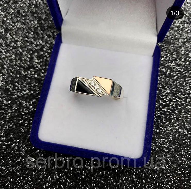 Печатка в серебре с золотом и ониксом Шон