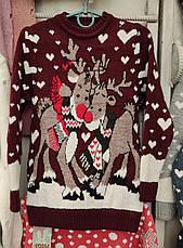 Вязаный свитер с оленями для девочек 6-11 лет Обнимашки кремовый, фото 3