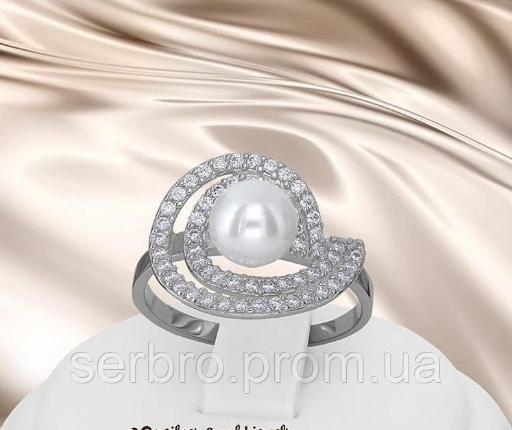 Серебряное родированное кольцо с жемчугом Сурия