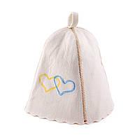 Банная шапка Luxyart Сердца Украины Белый LA-200, КОД: 1103617