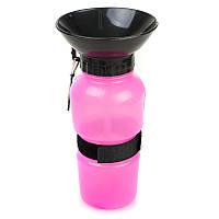 Портативная поилка с чашей для собак SUNROZ Dog Bottle 500 мл Розовый, КОД: 1285909