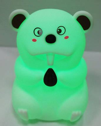 Силиконовый детский ночник «Бобер» 7 LED цветов USB ночник-светильник, фото 2