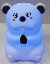 Силиконовый детский ночник «Бобер» 7 LED цветов USB ночник-светильник, фото 3