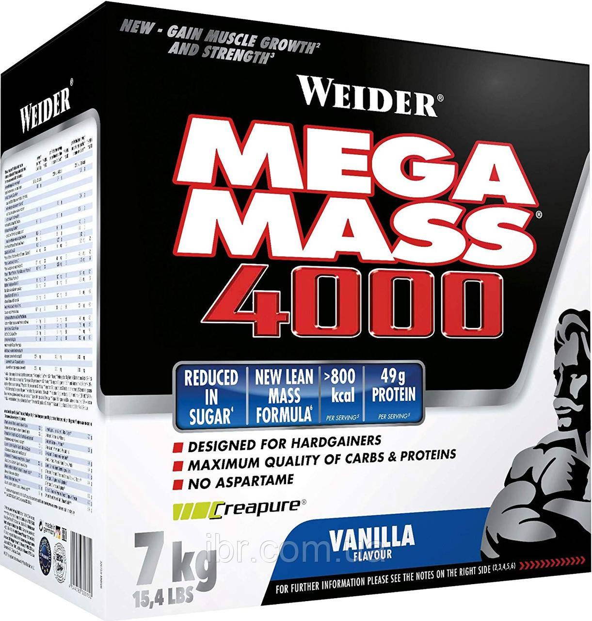 Гейнер WEIDER NEW FORMULA MEGA MASS 4000 7 kg Vanilla