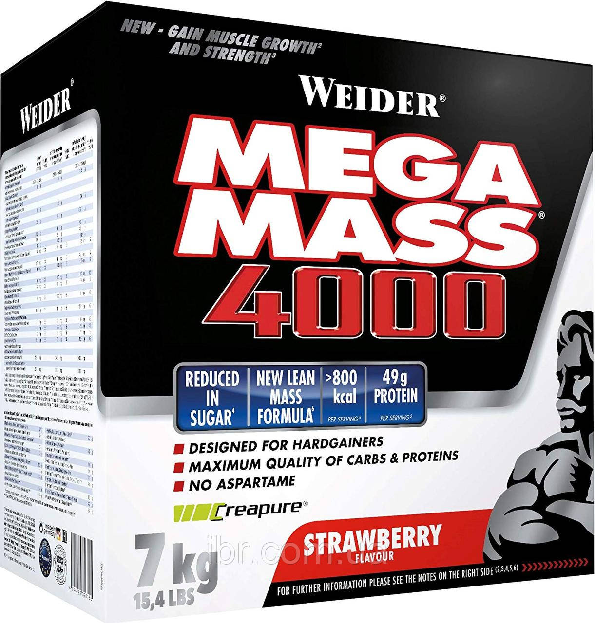 Гейнер WEIDER NEW FORMULA MEGA MASS 4000 7 kg Strawberry