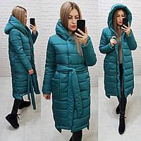 Стильное зимнее пальто зелёная / зелёный изумруд M032