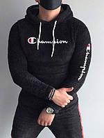 Теплая мужская кофта-худи Чемпион черного цвета