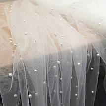 Ткань сетка с бусинами белая, фото 2