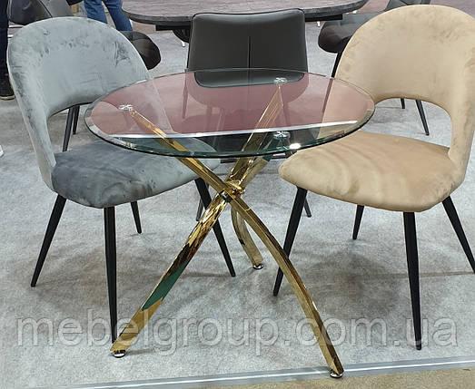 Стол Т-317 прозрачный золото D80, фото 2