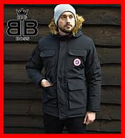 Куртка мужская зимняя, еврозима,стильная с капюшоном, теплая куртка с мехом