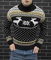 Мужской свитер с оленями + новогодняя шапка в подарок, фото 1
