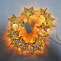 """Гирлянда новогодняя светодиодная LED - игрушка золотые """"звездочки"""" String Fly (10 звездочек на елку)"""