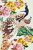 Схема для бисера А-2 цветы птицы Павлины и пионы (зеленая ветка)