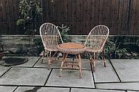Мебель из лозы с мягкими сидушками | кресла плетеные из лозы | плетеные 2 кресла стол