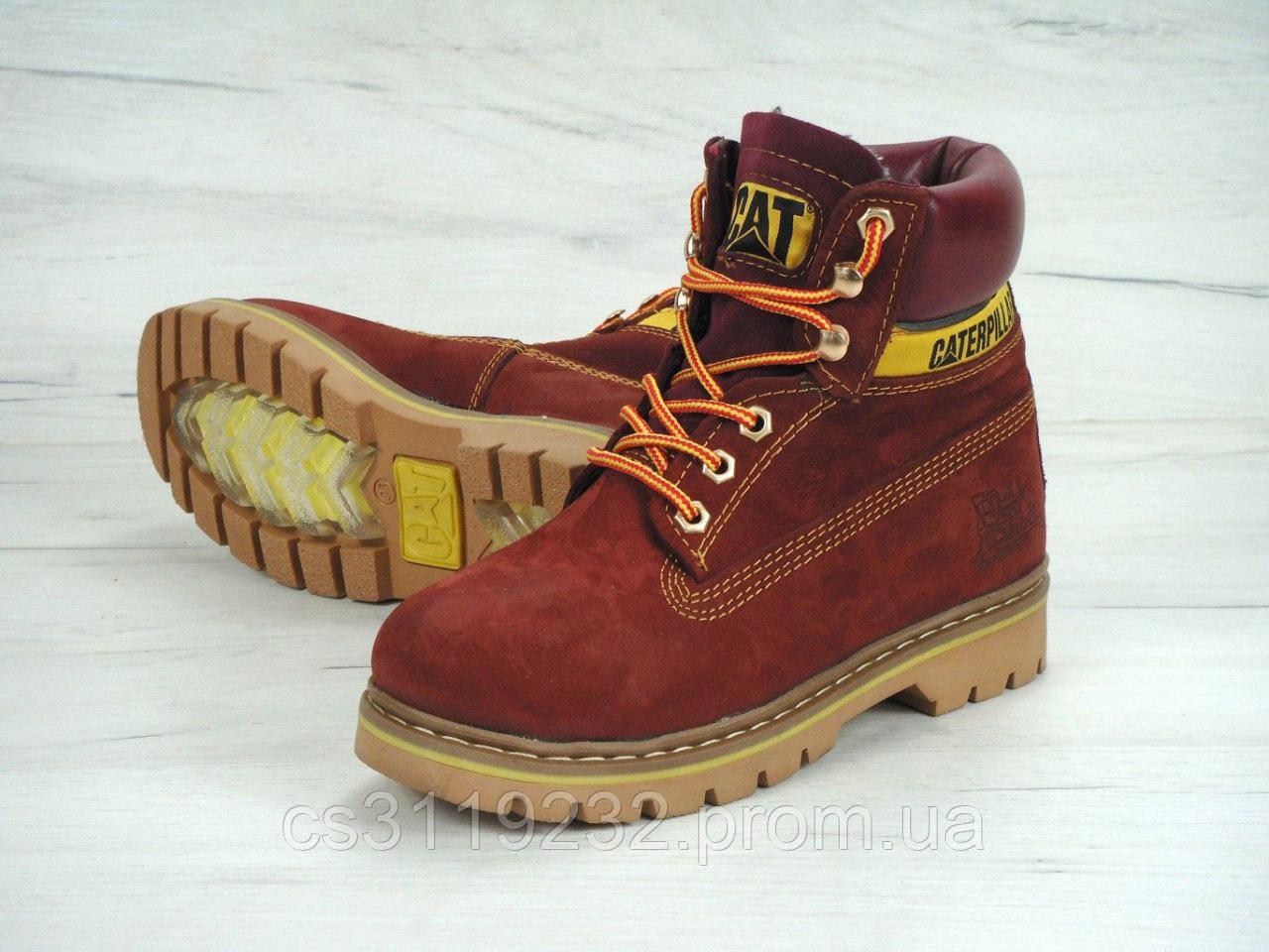 Женские ботинки зимние Caterpillar (мех) (бордовый)