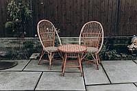 Садовая плетеная мебель на 2 человека | кресла плетеные из лозы | плетеные 2 кресла стол