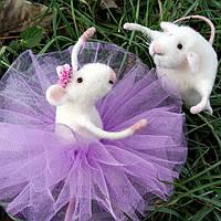 Крыса- балерина, авторская валяная игрушка из шерсти (сухое валяние), фото 1