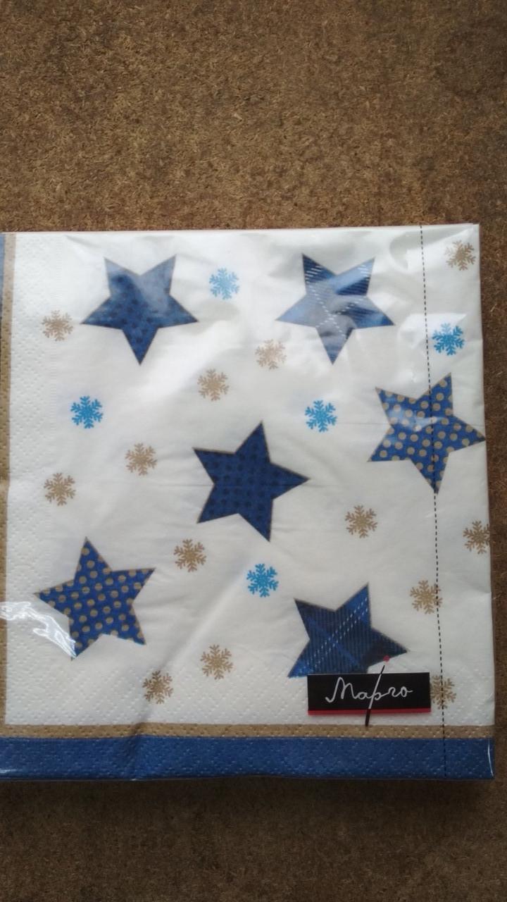 Салфетка бумажная 33*33 см, 20 шт Звёзды