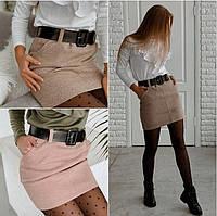 Женская кашемировая юбка. Женская юбка коричневого цвета. Короткая женская юбка. Женская одежда