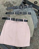 Женская кашемировая юбка. Женская юбка серого цвета. Короткая женская юбка. Женская одежда
