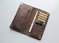 """Мужской кошелек из натуральной кожи """"Leone"""" темно-коричневый"""