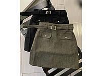Женская кашемировая юбка. Женская юбка цвета хаки. Короткая женская юбка. Женская одежда