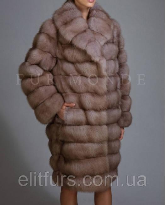 Шуба из меха куницы, 105 см