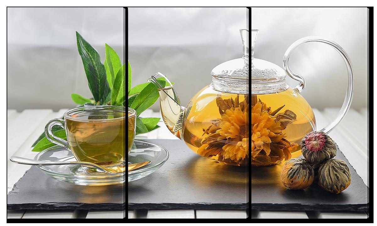 """Модульная картина Interno Холст Композиция """"Цветочный чай"""" 144x82см (R2186XL)"""