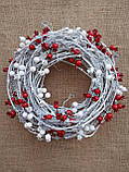 Біло-червоний новорічний вінок на двері 35 см, фото 6