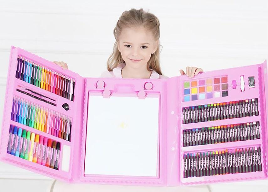 Детский художественный набор для рисования. Мольберт, фломастеры, карандаши. 176 предметов Розовый