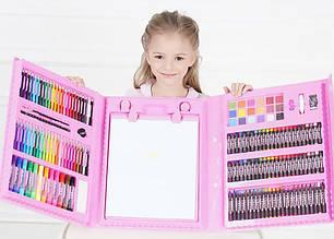 Дитячий художній набір для малювання. Мольберт, фломастери, олівці. 176 предметів Рожевий