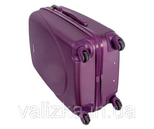 Средний пластиковый чемодан из поликарбоната с фурнитурой в цвет темно-фиолетовый, фото 2