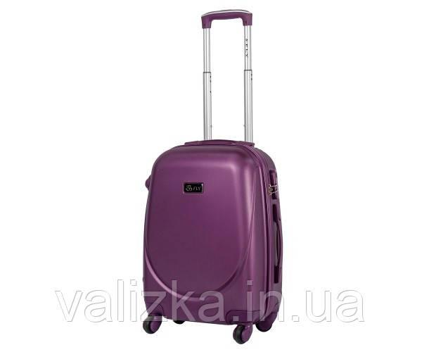Средний пластиковый чемодан из поликарбоната с фурнитурой в цвет темно-фиолетовый