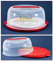 Тортовница круглая с крышкой 31х15cм пластиковая (цвет - красный) Irak Plastic SA-200-3, фото 1