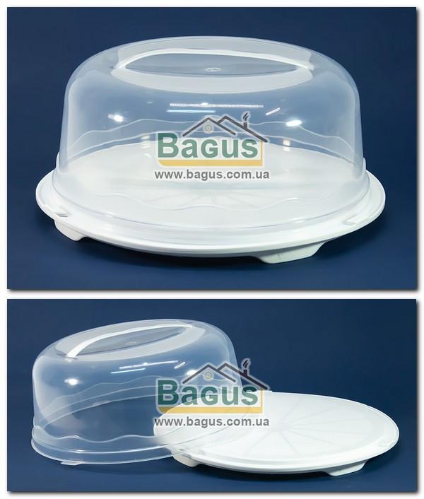 Тортівниця кругла з кришкою 31х15см пластикова (колір - білий) R Plastic